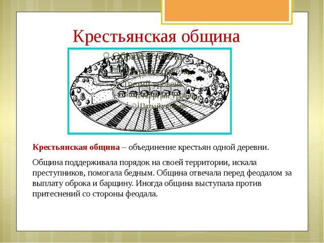 Крестьянская община Крестьянская община – объединение крестьян одной деревни....