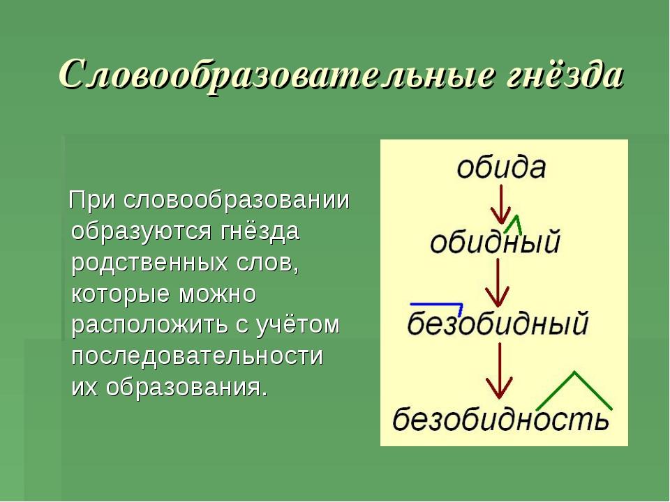 Словообразовательные гнезда гдз