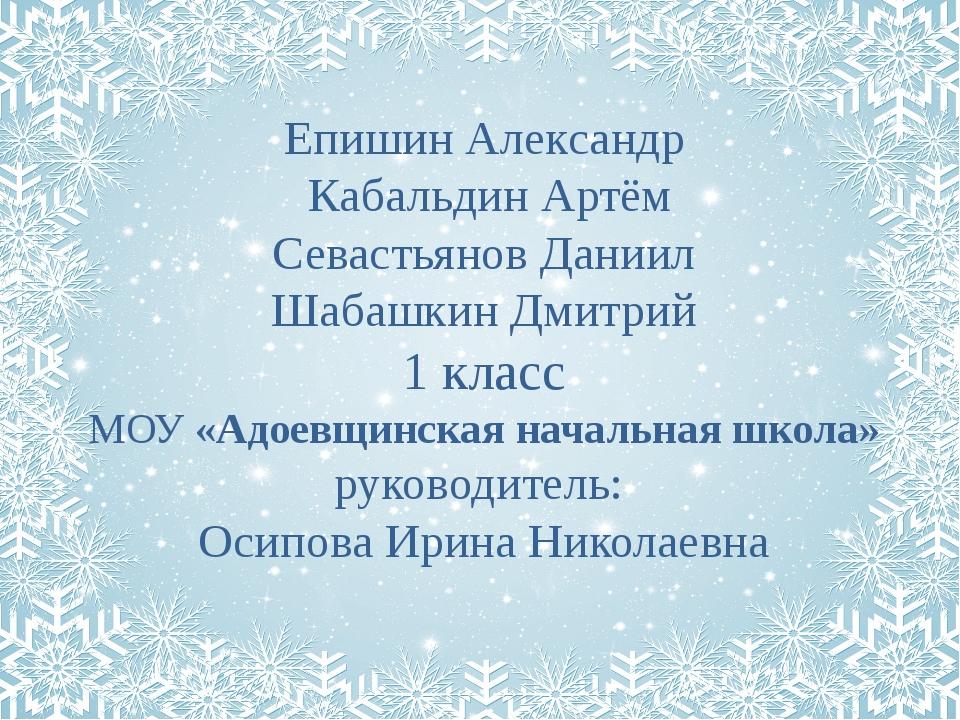 Епишин Александр Кабальдин Артём Севастьянов Даниил Шабашкин Дмитрий 1 класс...