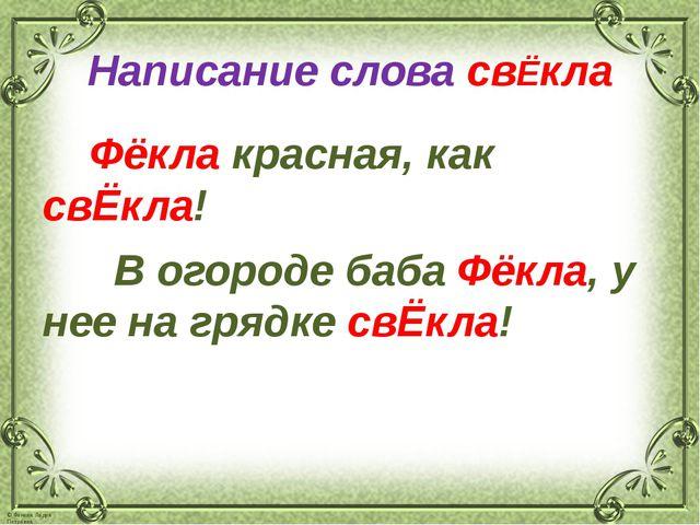 Написание слова свЁкла Фёкла красная, как свЁкла! В огороде баба Фёкла, у нее...