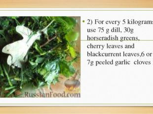 2)	For every 5 kilograms use 75 g dill, 30g horseradish greens, cherry leaves
