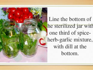 Line the bottom of the sterilized jar with one third of spice-herb-garlic mix