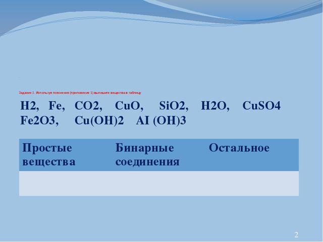. Задание 1. Используя пояснение (приложение 1) выпишите вещества в таблицу...