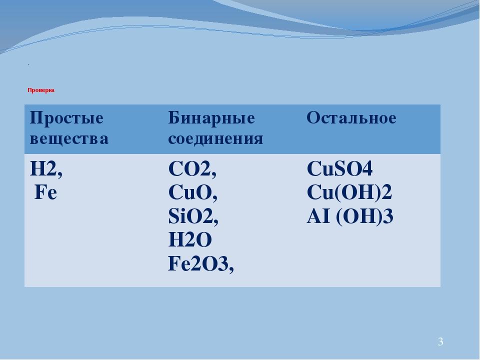 . Проверка 3 Простые вещества Бинарные соединения Остальное H2, Fe СO2, CuO,...