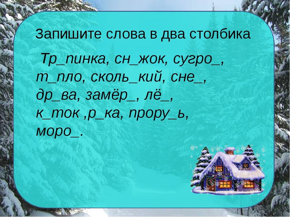 Запишите слова в два столбика Тр_пинка, сн_жок, сугро_, т_пло, сколь_кий, сне...