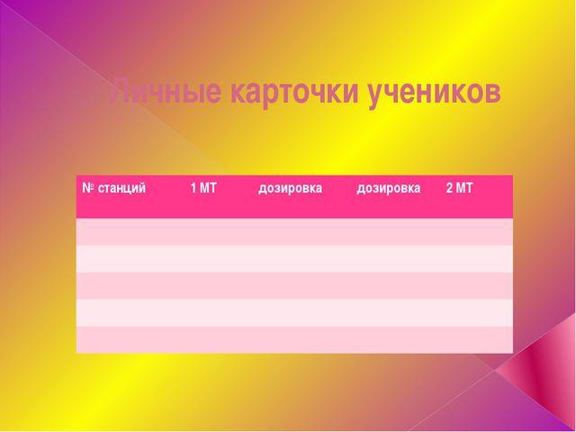 Личные карточки учеников № станций 1 МТ дозировка дозировка 2 МТ