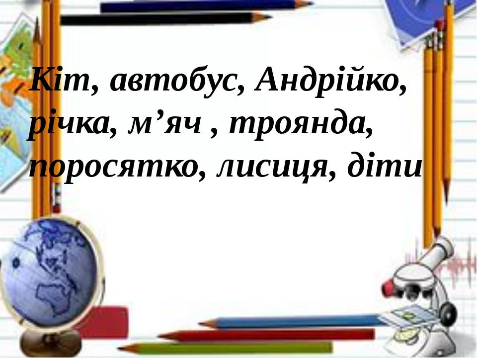 Кіт, автобус, Андрійко, річка, м'яч , троянда, поросятко, лисиця, діти