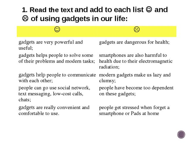1. Read the text and add to each list  and  of using gadgets in our life: ...