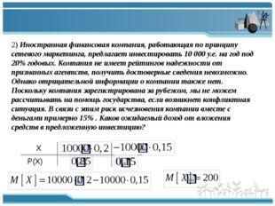 2) Иностранная финансовая компания, работающая по принципу сетевого маркетинг