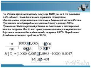 СБ России принимает вклады на сумму 10000 у.е. на 1 год по ставке 6,5% годовы