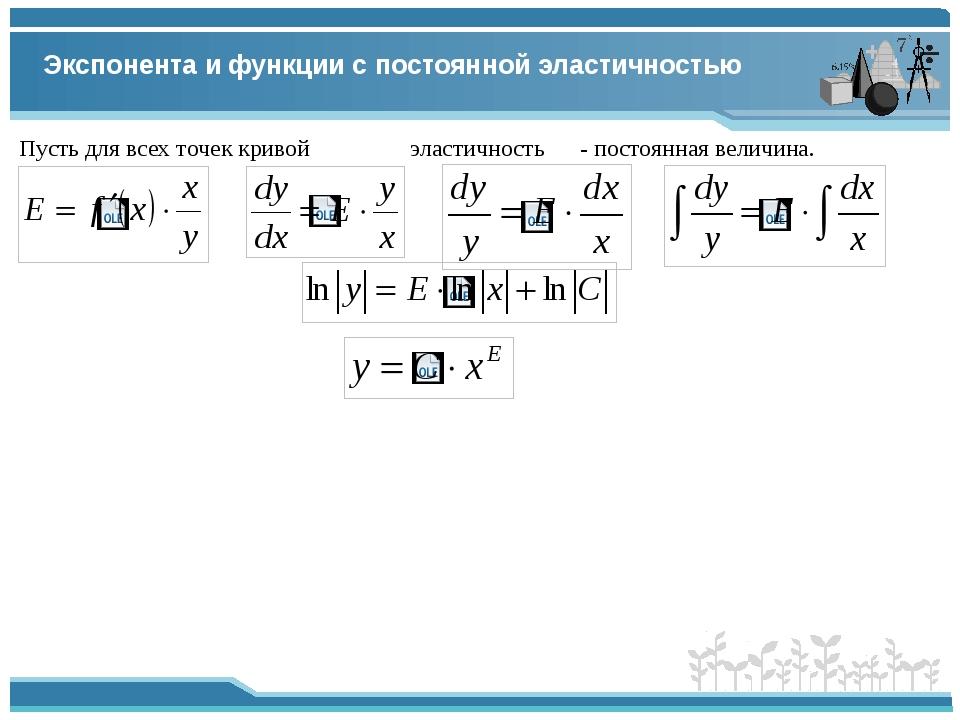 Экспонента и функции с постоянной эластичностью