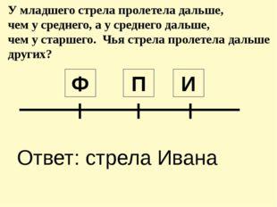 П Ф И Ответ: стрела Ивана У младшего стрела пролетела дальше, чем у среднего