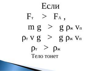 Если Fт > FА , m g > g ρж vп ρт v g > g ρж vп ρт > ρж Тело тонет