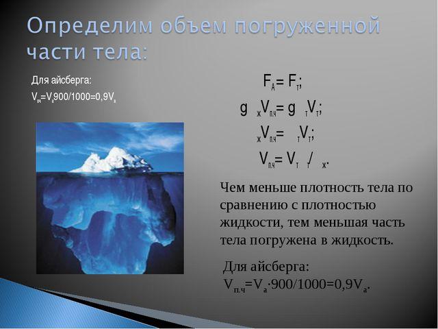 Для айсберга: Vпч=Vа900/1000=0,9Vа FA = Fт; gρжVп.ч= gρтVт; ρжVп.ч= ρтVт; Vп....