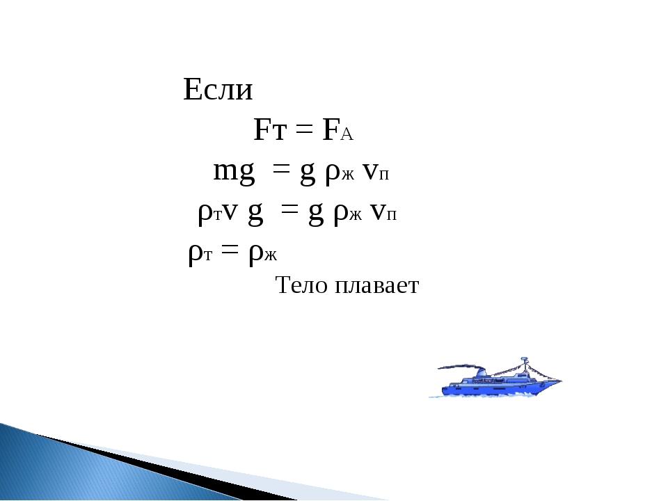 Если Fт = FА mg = g ρж vп ρтv g = g ρж vп ρт = ρж Тело плавает