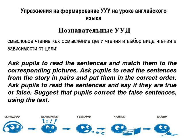 Упражнения на формирование УУУ на уроке английского языка Познавательные УУД...