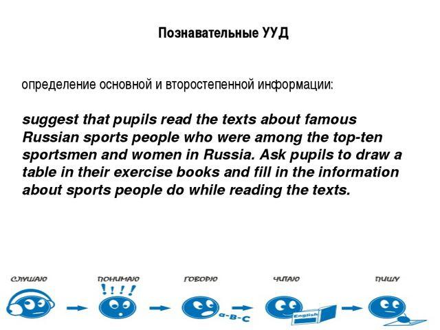Познавательные УУД определение основной и второстепенной информации: suggest...