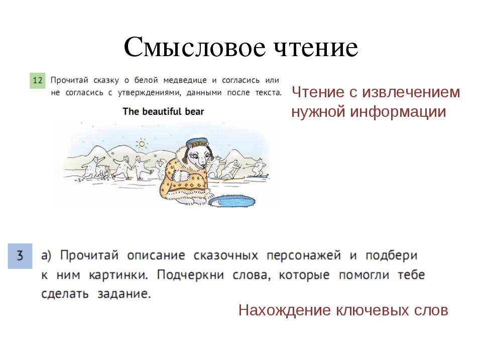 Cмысловое чтение Чтение с извлечением нужной информации Нахождение ключевых с...