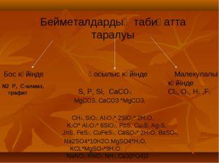 Бейметалдардың табиғатта таралуы Бос күйінде Қосылыс күйінде Малекулалық күйі