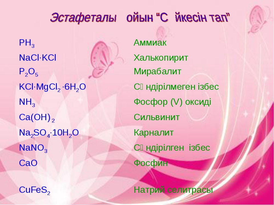 PH3Аммиак NaCl·KClХалькопирит P2O5Мирабалит KCl·MgCl2 ·6H2O Сөндірілмеген...