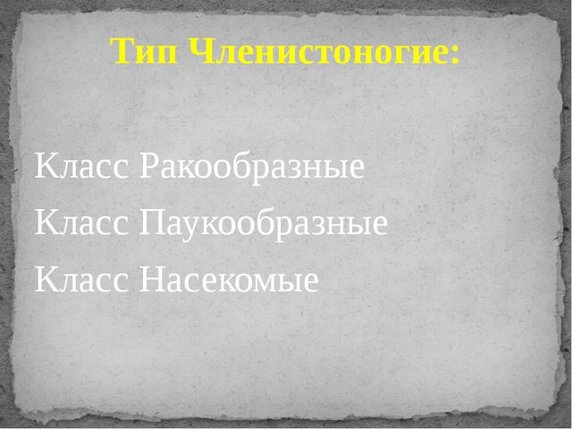 Тип Членистоногие: Класс Ракообразные Класс Паукообразные Класс Насекомые