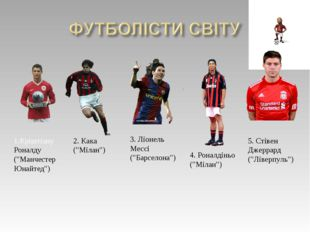 """1.Кріштіану Роналду (""""Манчестер Юнайтед"""") 2. Кака (""""Мілан"""") 3. Ліонель Мессі"""