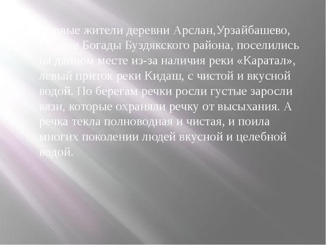 Первые жители деревни Арслан,Урзайбашево, Старые Богады Буздякского района, п...