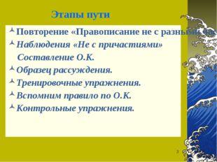 * Этапы пути Повторение «Правописание не с разными частями речи. Наблюдения «