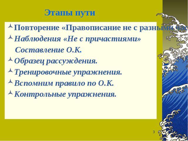 * Этапы пути Повторение «Правописание не с разными частями речи. Наблюдения «...