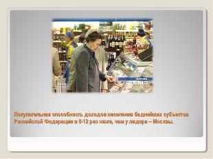 Покупательная способность доходов населения беднейших субъектов Российской Фе