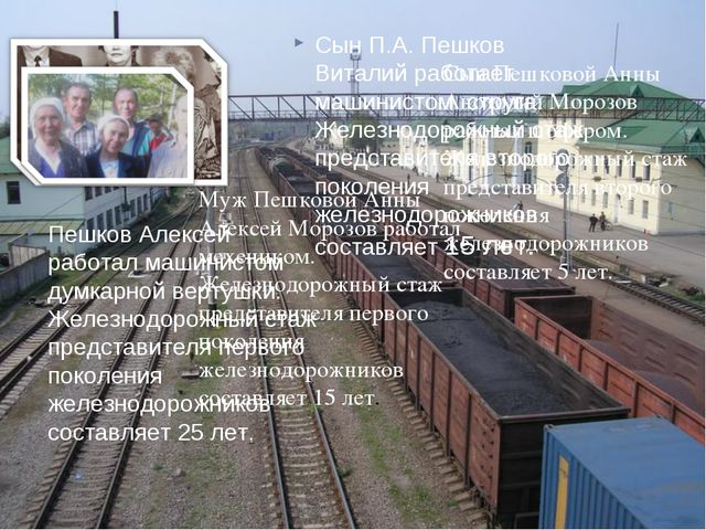 Муж Пешковой Анны Алексей Морозов работал мехеником. Железнодорожный стаж пре...