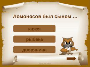 Ломоносов был сыном … Подумай! дворянина Верно! рыбака Подумай! князя © Фокин