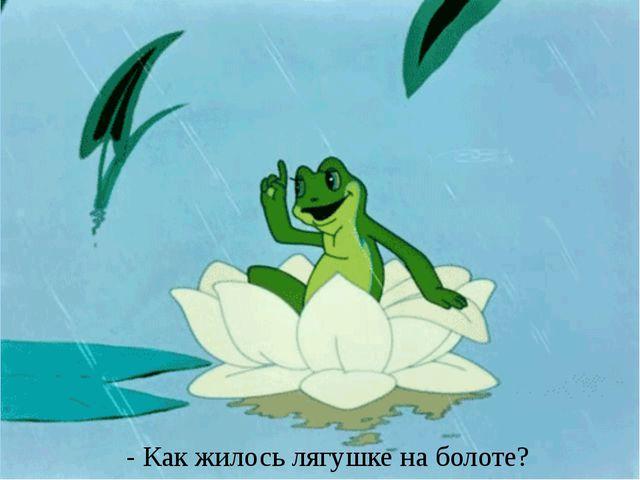 - Как жилось лягушке на болоте?