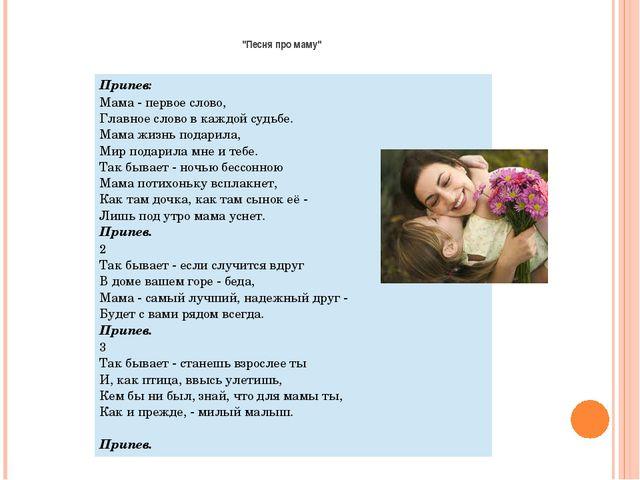 """""""Песня про маму"""" Припев: Мама - первое слово, Главное слово в каждой судьб..."""