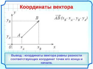 О Вывод : координаты вектора равны разности соответствующих координат точек