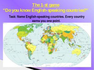 Task: Name English-speaking countries. Every country earns you one point. The