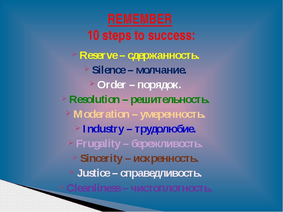 Reserve – сдержанность. Silence – молчание. Order – порядок. Resolution – реш...