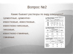 Вопрос №2 Какие бывают растворы по виду вяжущего? Цементные, цементно- извест