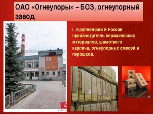 ОАО «Огнеупоры» – БОЗ, огнеупорный завод ●Крупнейший в России производитель к
