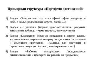 Примерная структура «Портфеля достижений» Раздел «Знакомьтесь: это – я» (фото
