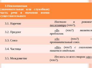 3.Неизменяемая(знаменательная или служебная) часть речи взначенииименисуществ