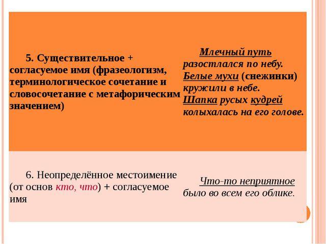 5. Существительное + согласуемое имя (фразеологизм, терминологическое сочетан...