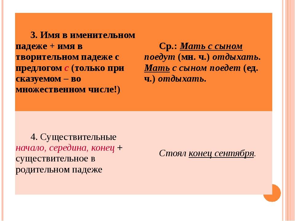 3. Имя в именительном падеже + имя в творительном падеже с предлогомс(только...