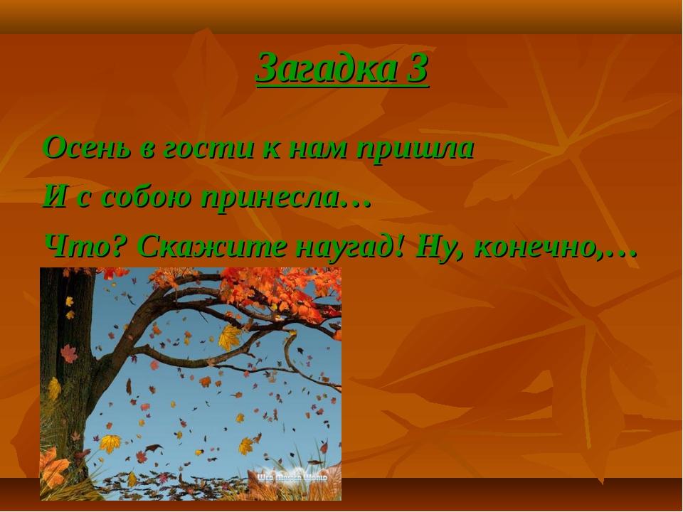 Загадка 3 Осень в гости к нам пришла И с собою принесла… Что? Скажите наугад!...