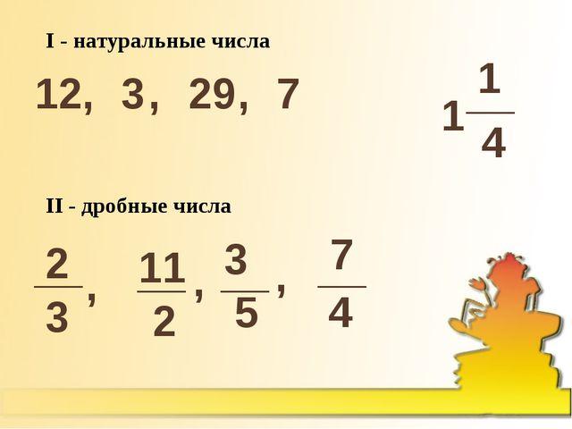 I - натуральные числа 12, 3 , 29 , 7 2 3 11 2 __ __ , , 1 1 4 __ 3 5 __ , 7 4...