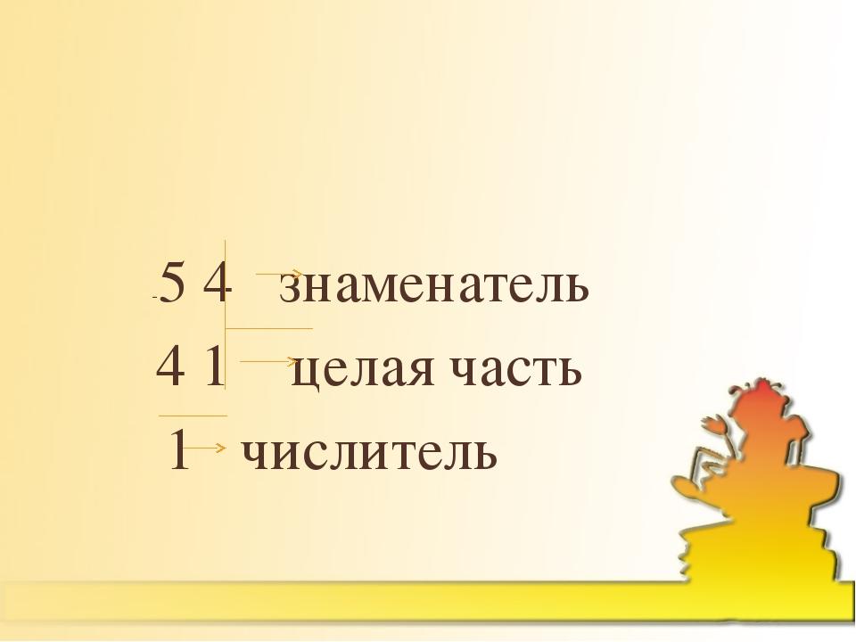 -5 4 знаменатель 4 1 целая часть 1 числитель