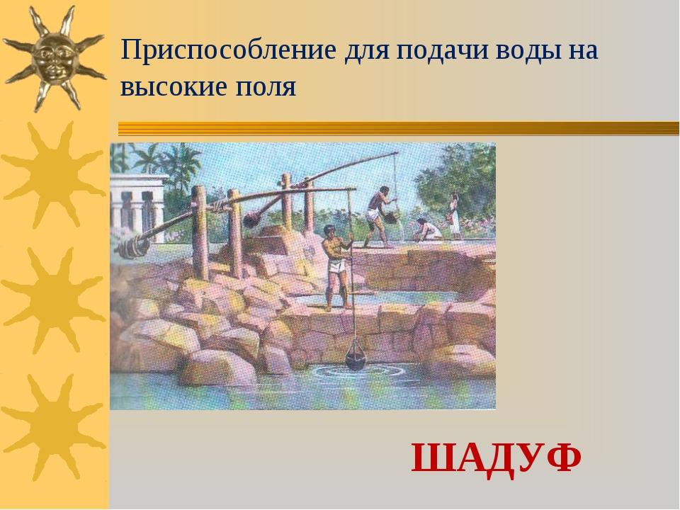 Приспособление для подачи воды на высокие поля ШАДУФ