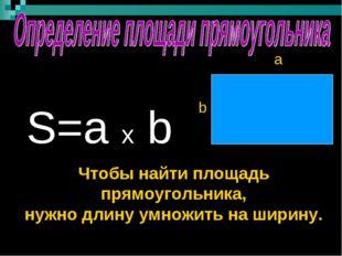 S=a x b a b Чтобы найти площадь прямоугольника, нужно длину умножить на шири