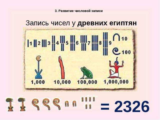 3. Развитие числовой записи Запись чисел у древних египтян = 2326
