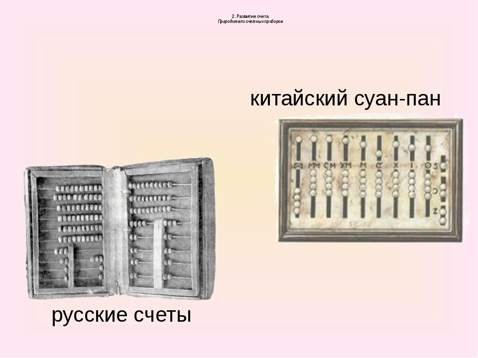 2. Развитие счета Прародители счетных приборов русские счеты китайский суан-...